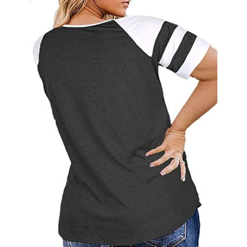 Dark Gray Raglan Short Sleeve Plus Size Tops TQK210719-26