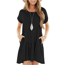 Black Cotton Blend Short Sleeve Mini Dress TQK310555-2