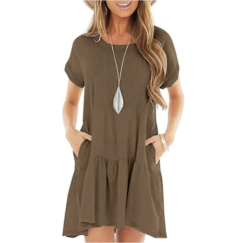 Brown Cotton Blend Short Sleeve Mini Dress TQK310555-17
