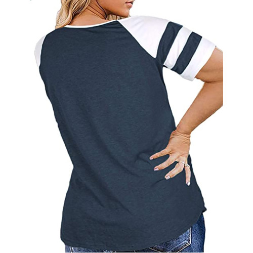 Navy Blue Raglan Short Sleeve Plus Size Tops TQK210719-34