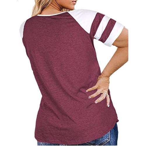 Purple Red Raglan Short Sleeve Plus Size Tops TQK210719-32