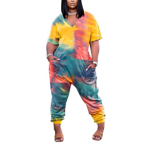 Green Tie Dye Print V Neck Jumpsuit with Pockets TQK550245-9