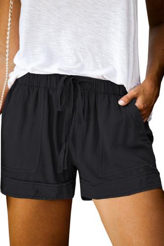Black Elastic Waist Drawstring Pocket Shorts LC771240-2