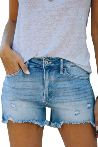 Light Blue Distressed Ripped Denim Shorts with Pockets LC781604-4