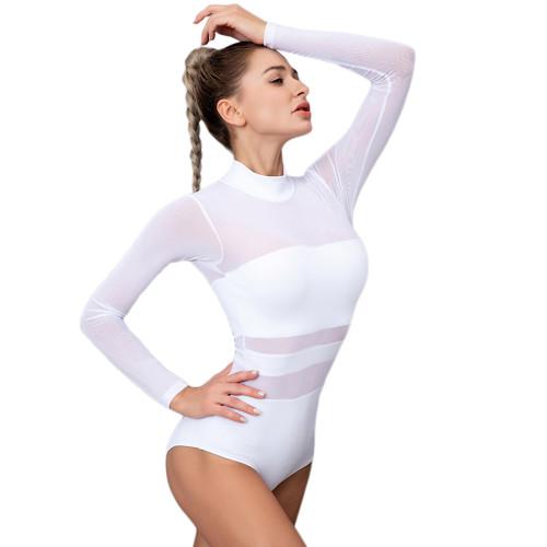White Mesh Splice Quick Dry Nylon Yoga Bodysuit TQE990210-1