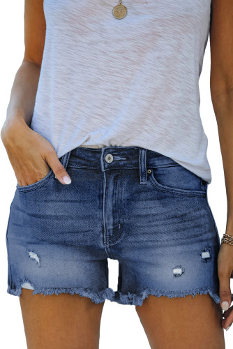 Dark Blue Distressed Ripped Denim Shorts with Pockets LC781604-5
