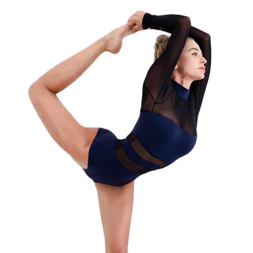 Dark Blue Mesh Splice Quick Dry Nylon Yoga Bodysuit TQE990210-77