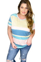 Plus Size Short Sleeve Striped Knit Top LC252912-19