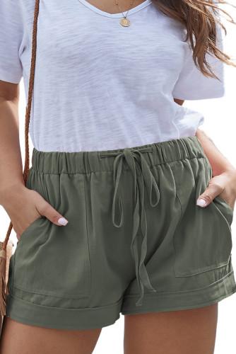 Green Elastic Waist Drawstring Pocket Shorts LC771240-9