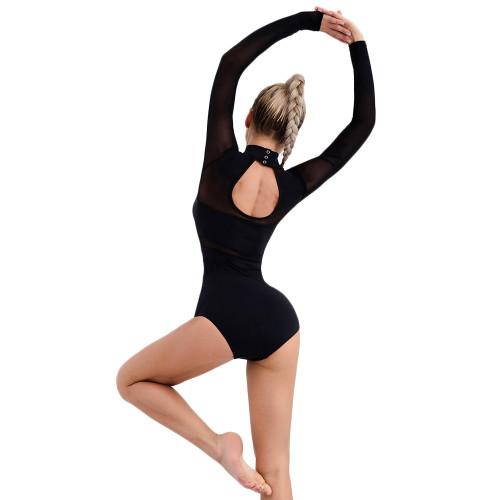 Black Mesh Splice Quick Dry Nylon Yoga Bodysuit TQE990210-2