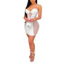 White Mesh Splice Sling Bodycon Dress TQK310556-1
