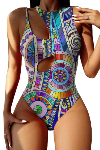 Boho Tribal Print Cut-out One-piece Swimsuit LC44817-22