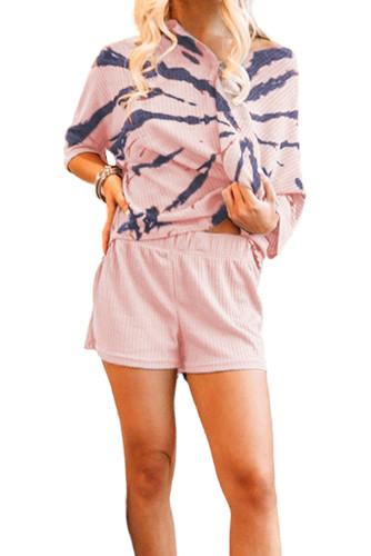 Pink Camo Print Waffle Knit Lounge Set LC4511356-10