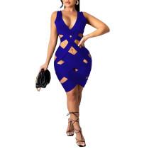 Blue Weave Sleeveless Bodycon Dress TQK310558-5