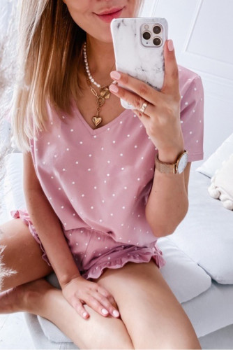 Pink Dotted V Neck Tee and Ruffled Shorts Lounge Set LC4511590-10