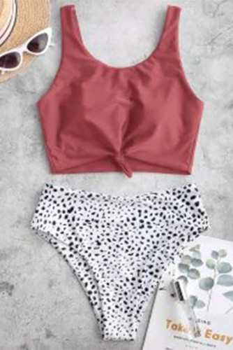 Pink Leopard Print Knot High Waist Bikini Swimsuit LC431190-10