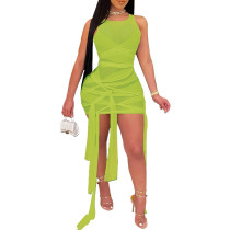 Grass Green Mesh Sleeveless Clubwear Bodycon Dress TQK310559-61