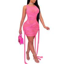 Rosy Mesh Sleeveless Clubwear Bodycon Dress TQK310559-6