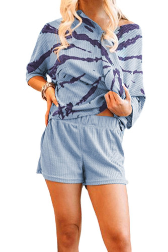 Blue Camo Print Waffle Knit Lounge Set LC4511356-11