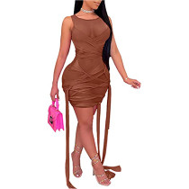 Brown Mesh Sleeveless Clubwear Bodycon Dress TQK310559-17