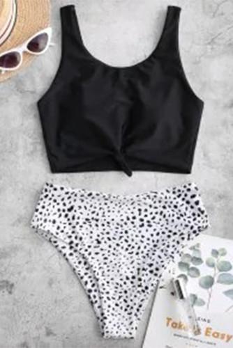 Black Leopard Print Knot High Waist Bikini Swimsuit LC431190-2