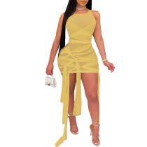 Light Yellow Mesh Sleeveless Clubwear Bodycon Dress TQK310559-42
