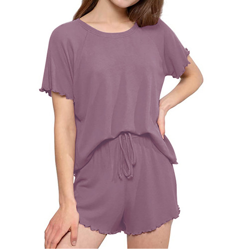 Purple INS Style Short Sleeve Loungewear Set TQK710342-8