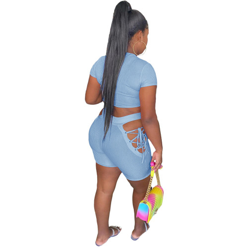 Light Blue Rib Crop Top with Side Lace Up Shorts Set TQK710339-30