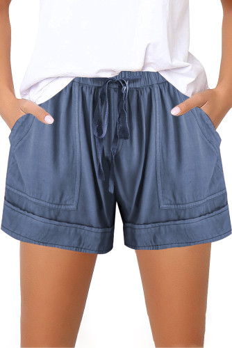 Blue Elastic Waist Drawstring Girl's Shorts with Pockets TZ77014-5