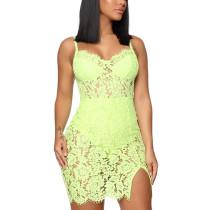 Fluorescent Green Split Lace Sling Mini Dress TQK310560-57