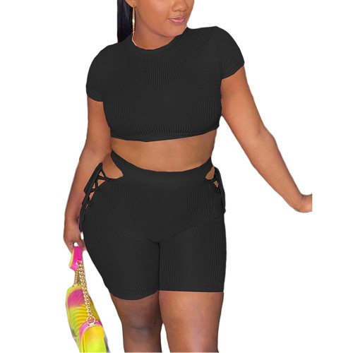 Black Rib Crop Top with Side Lace Up Shorts Set TQK710339-2