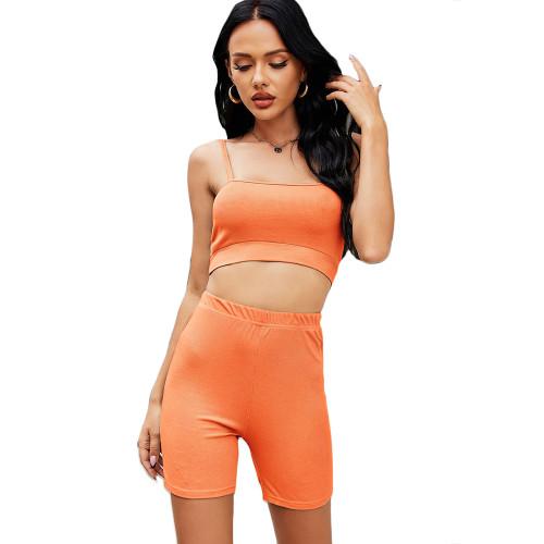 Orange Spaghetti Straps Crop with Shorts Loungewear TQK710341-14