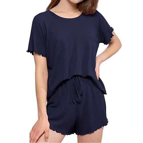 Navy Blue INS Style Short Sleeve Loungewear Set TQK710342-34