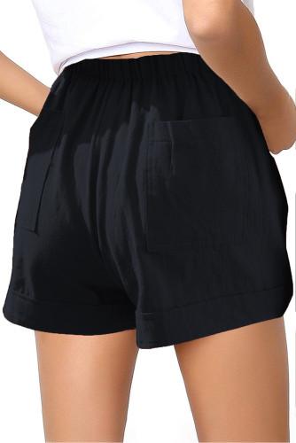 Black Elastic Waist Drawstring Girl's Shorts with Pockets TZ77014-2
