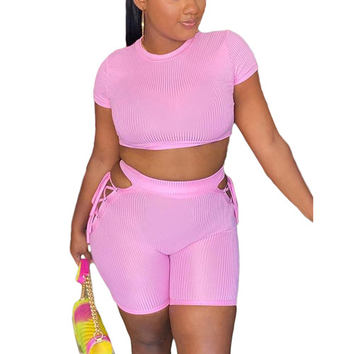 Pink Rib Crop Top with Side Lace Up Shorts Set TQK710339-10