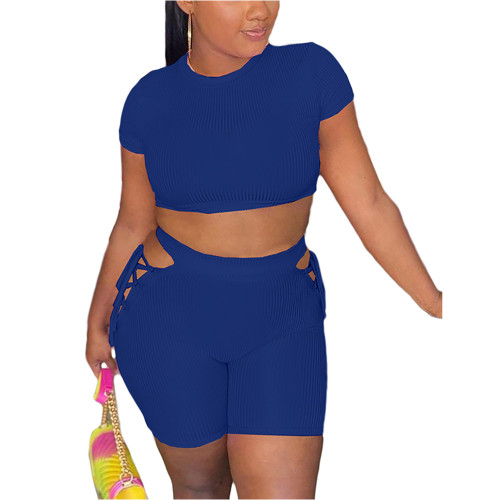 Blue Rib Crop Top with Side Lace Up Shorts Set TQK710339-5