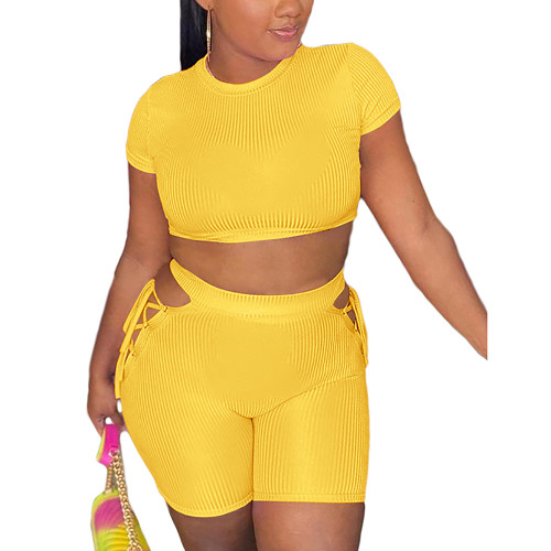 Yellow Rib Crop Top with Side Lace Up Shorts Set TQK710339-7