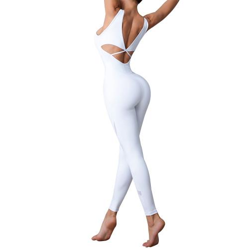 White Quick Dry Criss Cross Back Jumpsuits TQE990213-1