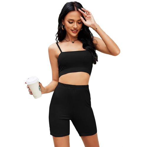 Black Spaghetti Straps Crop with Shorts Loungewear TQK710341-2