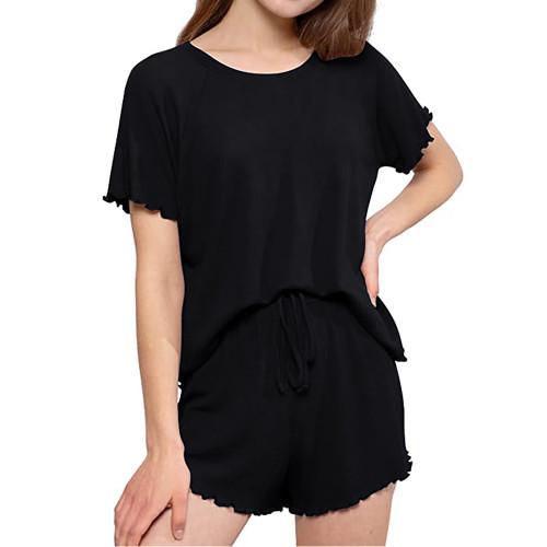 Black INS Style Short Sleeve Loungewear Set TQK710342-2