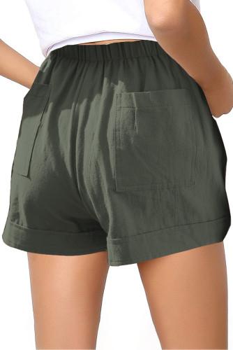Green Elastic Waist Drawstring Girl's Shorts with Pockets TZ77014-9