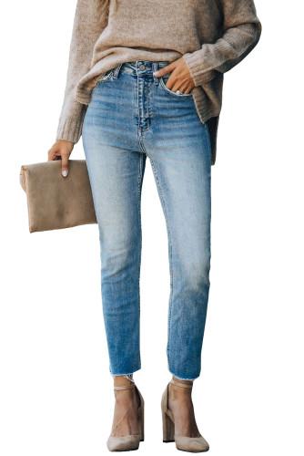 Sky Blue High Waist Ankle-Length Skinny Jeans LC781877-4