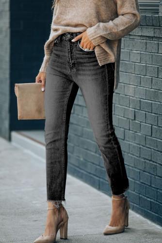 Black High Waist Ankle-Length Skinny Jeans LC781877-2