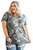 Sequined V Neckline Camo Plus Size T-shirt LC2515535-9