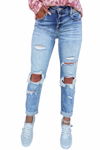 Distressed Detail Straight Jeans LC781565-4
