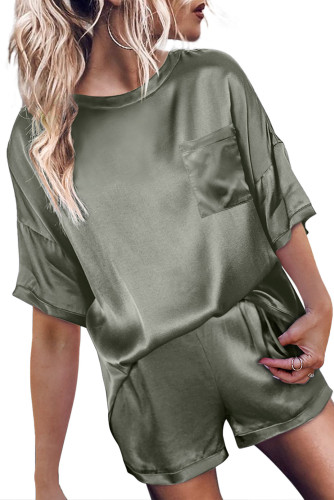 Green Satin Pocketed Tee and Shorts Lounge Set LC451851-9