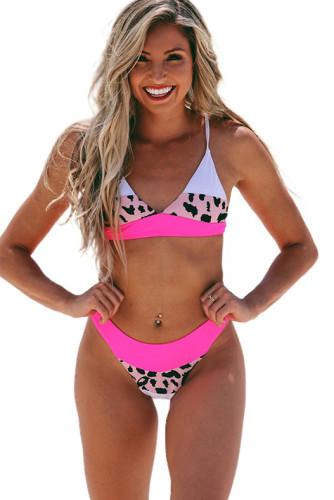 Rose Color Block Leopard V Neck Backless 2 Piece Bikini Set LC43773-6