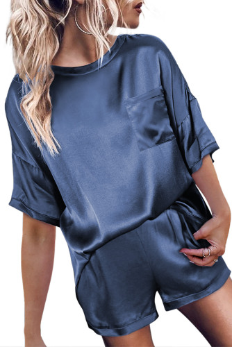 Dark Blue Satin Pocketed Tee and Shorts Lounge Set LC451851-5