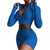 Blue Merbau Zipper Jacket with Shorts Set TQK710343-5
