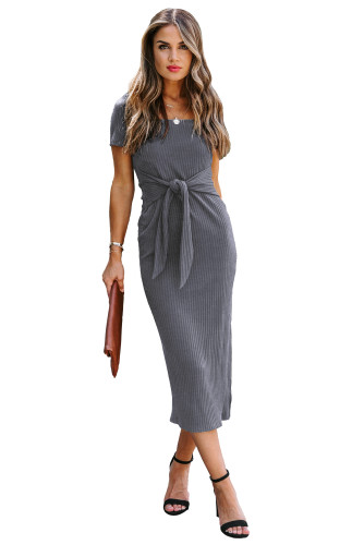 Gray Short Sleeves Ribbed Tie Front Midi Dress LC614327-11